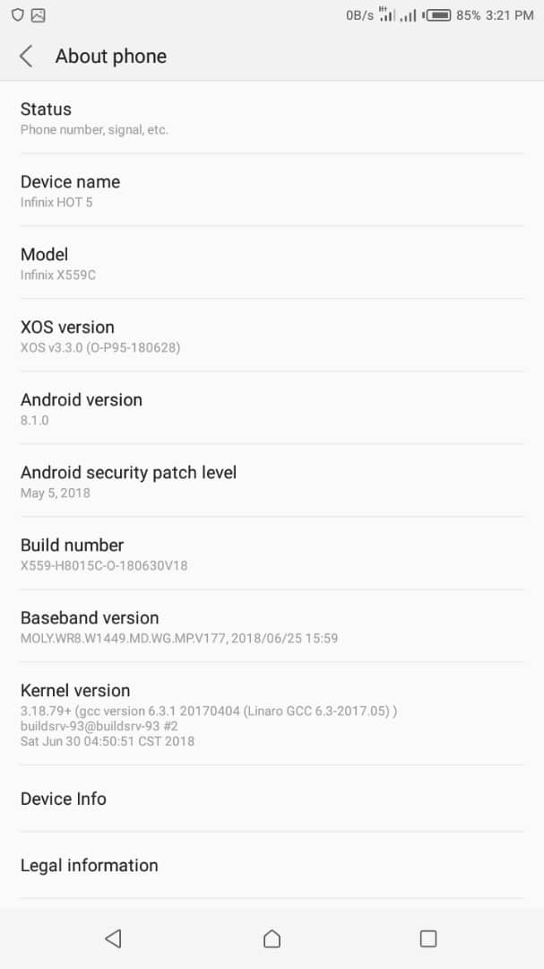 Official Android 8.1.0 Oreo Firmware For Infinix Hot 5 X559C