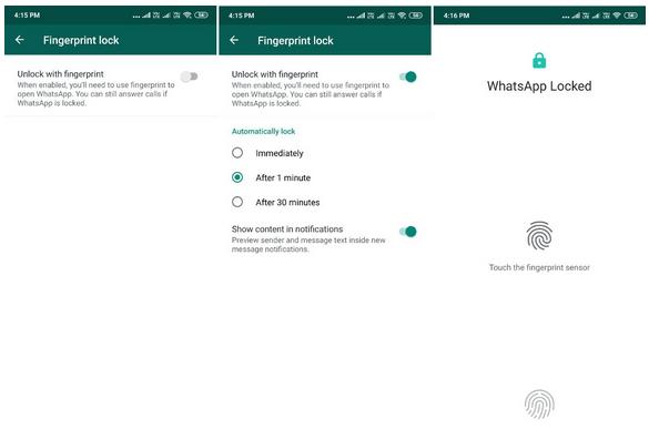 WhatsApp Fingerprint Authentication Feature