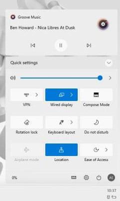 Windows 10 21H2 Update New Action Center